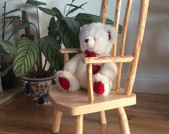 Unique Handcrafted Rustic Log Child Armchair