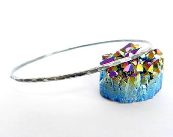Sterling Silver Bangle Oxidized Hammered Bracelet