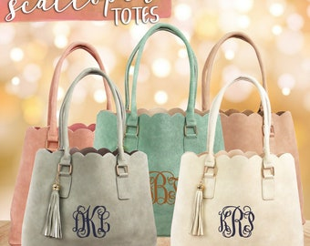 Monogrammed Spring Scalloped Faux Vegan Leather Totes with Tassels, Spring Monogram Purse, Personalized Mother's Day Gift