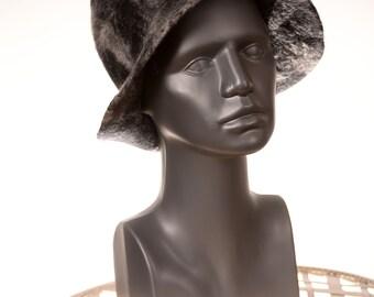 Handmade Felted Hat Black and White, Unique Woolen Fashion Fedora