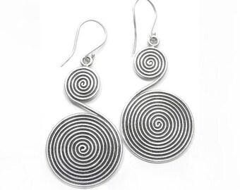 Handmade Sterling Silver Long Dangle Earrings, Tribal Boho Statement Earrings, Oxidized Black Double Spirals large earrings