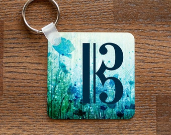 Alto Clef Keychain - Music Themed with Blue Flowers