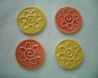 SC3 - FLOWER SWIRL Coins - 4 pc Stamped Tiles - Ceramic Mosaic Tiles