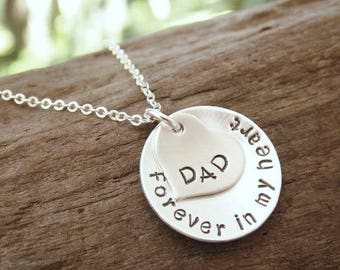 Remembrance Necklace, Hand Stamped Necklace, Forever in my Heart, Sterling Silver Memorial Necklace