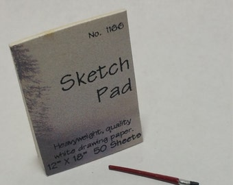 1:12 Scale Sketch Pad and Paint Brush