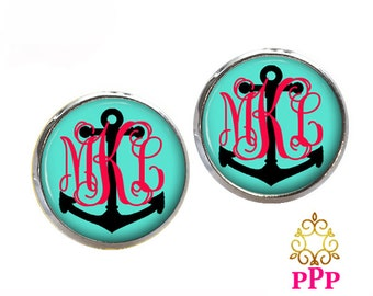 Monogram Earrings Monogram Stud Earrings, Monogram Jewlery Anchor  (439)