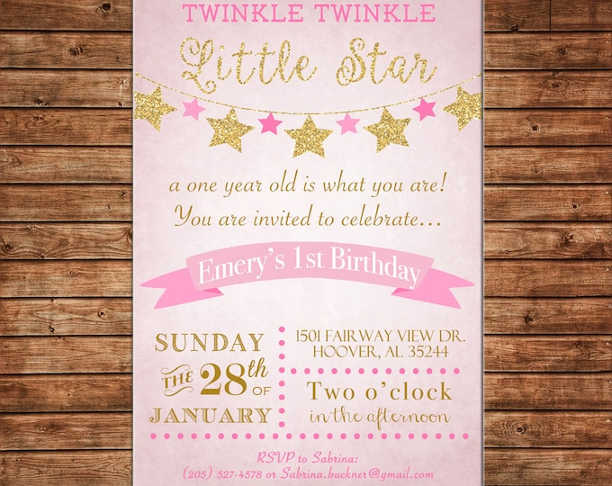 Girl Invitation Twinkle Star Baby Shower Birthday Party - Can personalize colors /wording - Printable File or Printed Cards