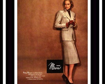 1947 Philip Mangone Skirt Suit in Miron Woolens Ad  - Wall Art - Home Decor - 1940s Fashions - Retro Vintage Fashion & Clothing Advertising