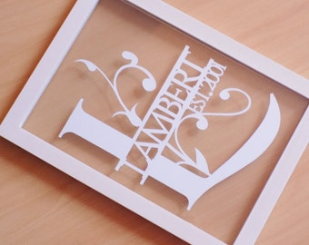 Initial and surname papercut in an a4 size floating frame. Perfect valentines or wedding gift