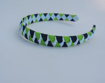 Woven Ribbon Headband in Navy Blue and Lime Green with a White Twist in the center