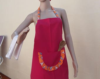 103 apron bib fuchsia orange ruffle with butterflies has one long middle front apron has bib pocket belt