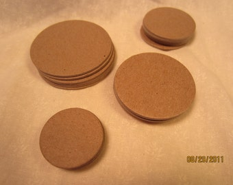 Chipboard Circle Die Cuts - Assorted Circles Blanks -Unfinished - Decoration