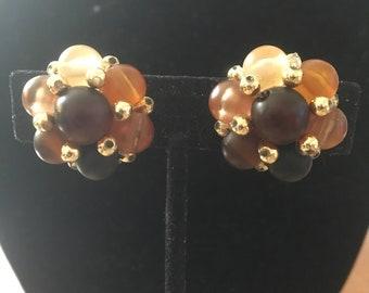 Vintage Cluster Clip Earrings in Earthtone Colors