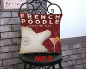 French Poodle Martini Bar pillow cover