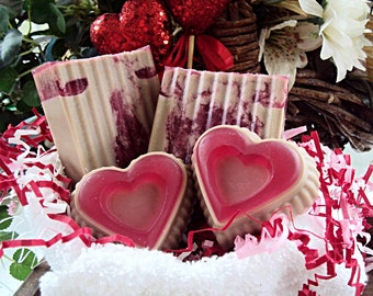 Chocolate Covered Strawberries 4 Piece Gift Set, Valentines Day Gift, Love Soap, Heart Soap, Goats Milk, Valentines Day, Gift Idea, Soap Bar