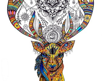 Elk Art Bohemian Boho Deer Stag Mandala Psychedelic Zentangle Spirit Animal Art Visionary Art Print Canvas Reclaimed Wood Frame