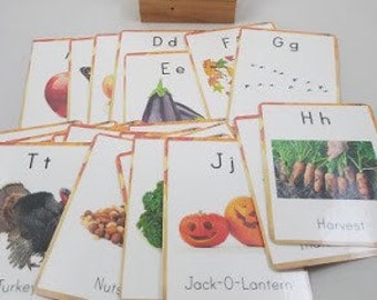 Autumn inspired vocabulary cards - fall alphabet cards - alphabet flash cards - fall nursery decor
