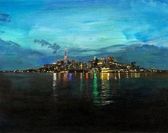 Toronto At Night - Original Acrylic Painting
