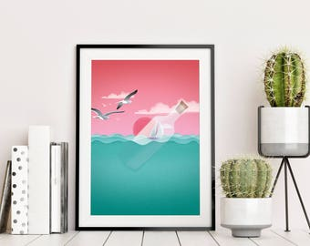 into the wind · art print · bright colors · poster · traveling · freedom · home decor