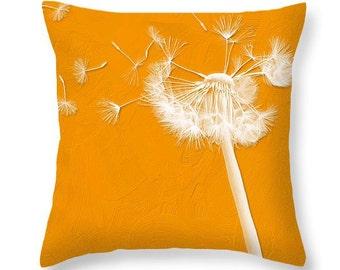 Pumpkin Orange Dandelion Pillow home decor, dorm decor, pillow cover, dandelion decor, autumn trends, interior styling, home accessories