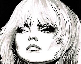 Debbie Harry portrait original ink drawing BLONDIE