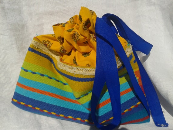 Provence Cosmetic Case Blue Yellow with Lace and Ribbon Handmade Cotton Pouch Cosmetic or Jewel Pouch sophieladydeparis