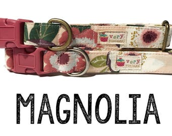 """Country Vintage Blush Magnolia Tree Blossoms Floral Flowers Pretty Girly Shabby Chic Dog Collar - Antique Metal Hardware - """"Magnolia"""""""
