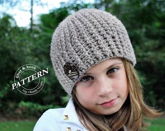 CROCHET PATTERN - Crochet Ribbed Beanie Pattern, Beanie Crochet Pattern, Hat Crochet Pattern, Button (Toddler, Child, Adult Sizes) pdf #006H