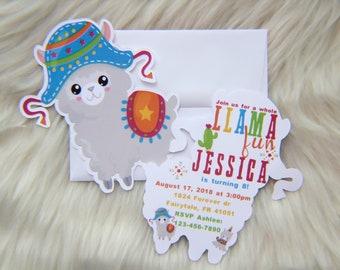 llama invitation - llama invite - llama birthday invite - alpaca birthday - llama party invite - llama party invitation - cactus invites