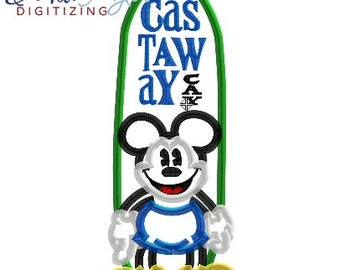 DCL Castaway Cay Mickey - 4x4, 5x7 and 6x10 in 7 formats - Applique - Instant Download - David Taylor Digitizing