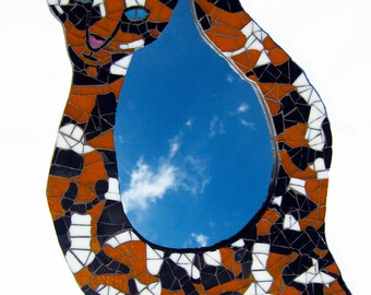 Calico Cat Mosaic Tile MIRROR - Stained Glass Wall Art for Cat Lovers - FREE U.S. Shipping