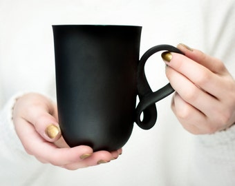 Porcelain big mug MOBIUS mug black porcelain china cup handmade by ENDE