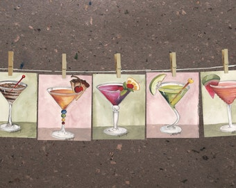 "Set of (5) small original Martini paintings, bar decor art, by Mary Beth Medley, approx 4.25"" x 6.25"" each"