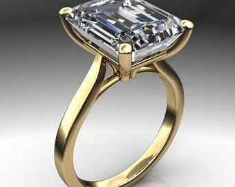 talbot ring - 6.8 carat emerald cut NEO moissanite engagement ring