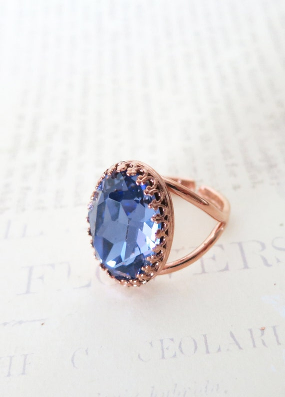 Rose Gold Swarovski Crystal Cocktail Ring - Tanzanite Purple Oval Crystal Rose Gold Adjustable Ring, simple, sparkly, chic, elegant, fashion