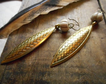 The Under The Earth boho Earrings. Golden Brass Wheat like elements and Carved Bone Pumpkin gourd earrings