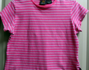 Route 66 - Pink striped stretch short sleeve -Woman's Size XL