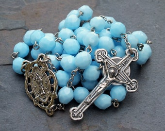Czech Glass Rosary in Opaque Turquoise, 5 Decade Rosary, Catholic Rosary, December Rosary, Birthstone Rosary