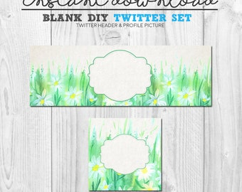 premade watercolour twitter set, instant download diy social media twitter branding package, floral watercolour twitter cover banner header