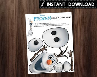 Instant Download - Frozen Build A Snowman Olaf Assemble Birthday Party Games Decor Decorations DIY Printable - Digital File