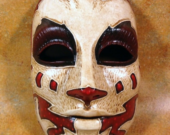 Tribal one of a kind latex full face mask for LARP, costume, cosplay