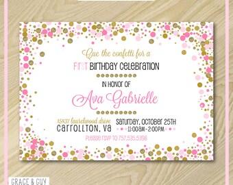 Pink and Gold Confetti Invitation - Printable Invitation Design