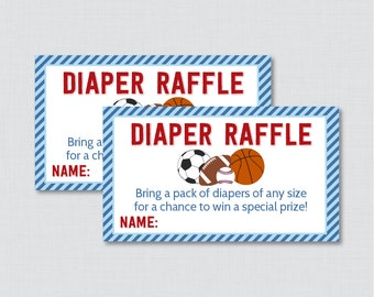 Sports Themed Baby Shower Diaper Raffle Tickets and Diaper Raffle Sign - Printable Instant Download - Sports Diaper Raffle Blue Red - 0015-B