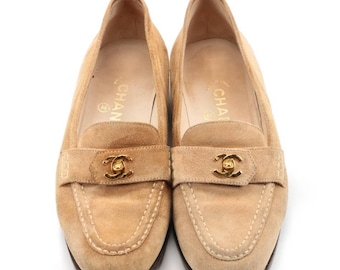 Vintage 1990s Chanel camel suede loafers, size 36.5.