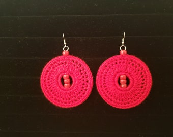 Red Crocheted Earrings with beads