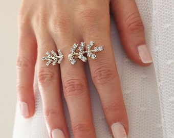 Cocktail Ring, Leaf Crystal RIng,Bride Crystal Ring, Prom hand jewelry ,Dual ring, Statement ring, Adjustable Ring, Crystal Big Ring