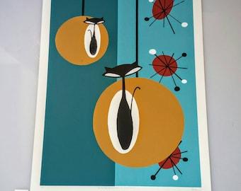 Retro Atomic Cat SilkScreen Art | Original Design, Hand Pulled Prints, Artist Proofs SilkScreen Prints, 20 x 28 In, Atomic Mid Century Art