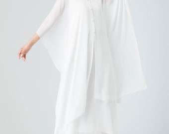 sheer white chiffon capelet, wedding cape, bridal cape, long dress prom, cover up cape, womens chiffon cape, long chiffon cape 1917