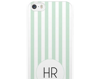 Green and White Striped iPhone Case, Monogram Phone Case, iPhone 5, iPhone 5s, iPhone 6, iPhone 6s, iPhone 6 Plus, iPhone 7, iPhone 7 Plus