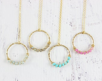 Gold Gemstone Necklace, Beaded Stone Pendant Necklace, Sky Blue Topaz Necklace, Turquoise Necklace, Birthstone Necklace, Wire Wrap Pendant